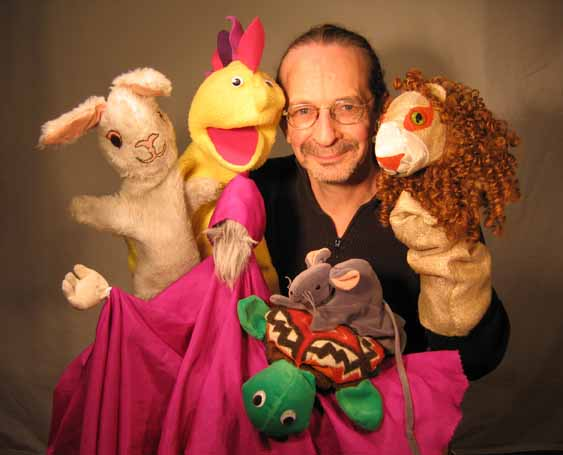 Steve Abrams with his puppets